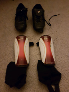 Boys cleats and shin guards