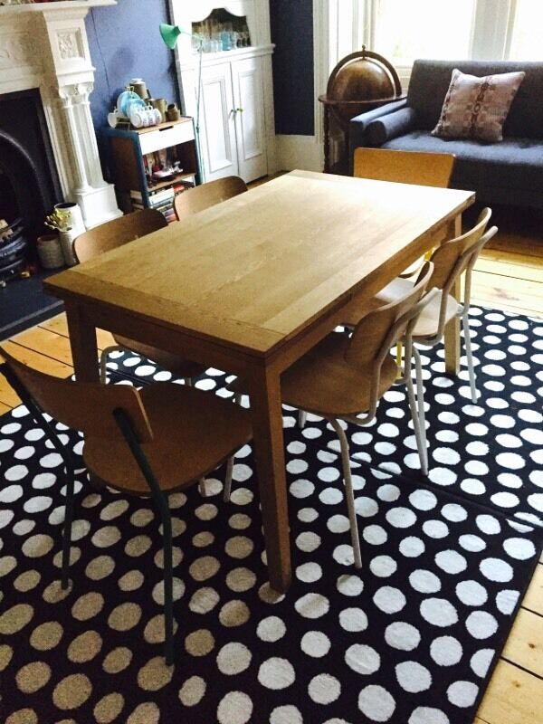 Fantastic Habitat Solid Oak Extendable Dining Table