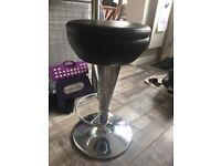 Adjustable height black and silver bar stool