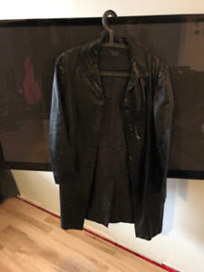 M0851 (Rugby North America) leather trench coat - black small