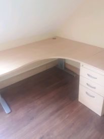 Executive managers corner office desk with matching desk