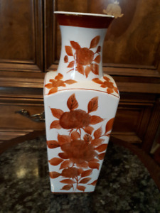 Asian vase - white with orange chrysanthemums - 14x5inches