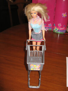 Barbie with, shopping cart , scooter and horse,car, vanity