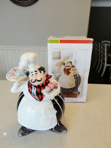 "Brand New Chef Ceramic Cookie Jar by American Atelier 12"" tall"