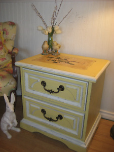 Ornate Solid Wood Nightstand! Chalk Painted w/Vintage Papers~