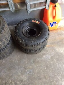 4 MAXXIS tires and front black rims!!