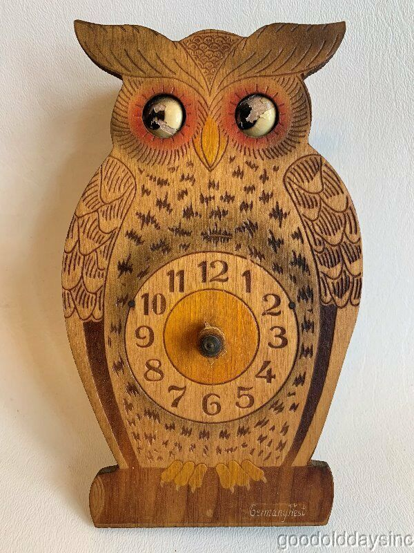 Antique Carved  Pyrography Wooden Wood Owl Clock w/ Moving eyes Germany West