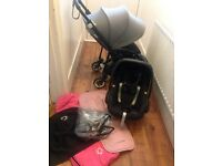 LIMITED EDITION 2014 BUGABOO BEE PLUS IN ALL BLACK WITH LOADS OF EXTRAS £450