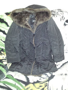 Black Hooded Winter Jacket Size Small