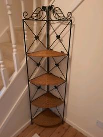 Rattan/Wicker wrought iron Corner shelf unit.