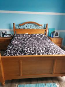 queen size bed frame, mattress and boxspring