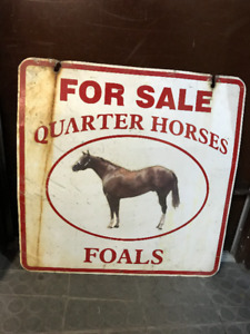 """VINTAGE DOUBLE SIDED FARM SIGN """"FOR SALE QUARTER HORSES FOALS"""""""