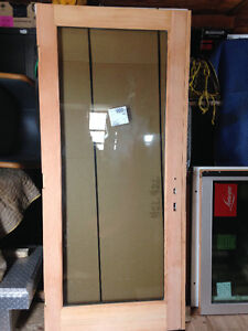 Interior Wooden Door with Tempered Glass (x5) - NEW
