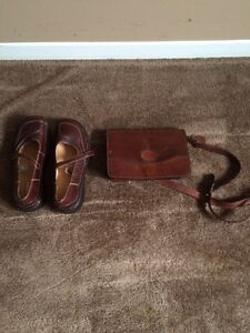 Leather purse and shoes