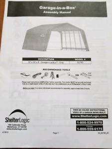 2 ShelterLogic portable garages.