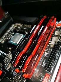 Gaming motherboard Intel i7 CPU processor and RAM