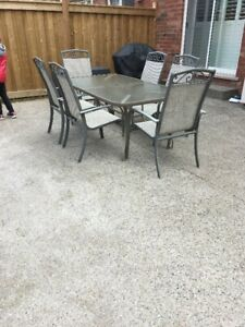 Outdoor Patio Dining Set with 6 Chairs, Excellent Condition $150