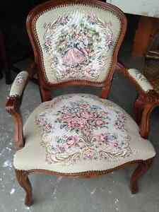Beautiful Antique Needlepoint French Provincial Accent Chair