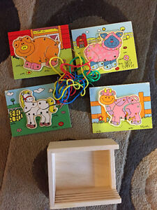 Wooden Lacing Toy with Farm Animals