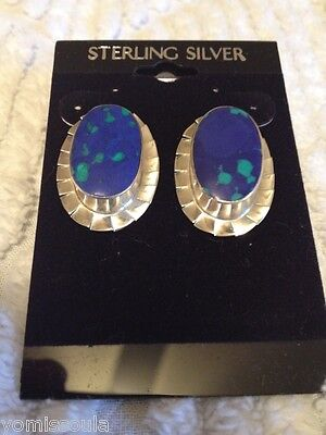 Very Unique Blue Lapis & Sterling Silver Earrings