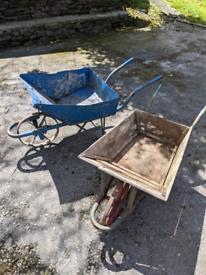 2 Vintage Wheelbarrows (Metal and Wood)