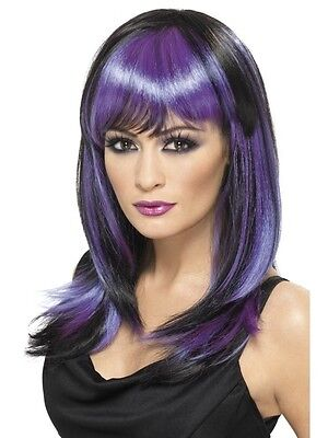 Black and Purple Glamour Witch Womens Halloween Fancy Dress Costume WIG (Halloween Fancy Dress)