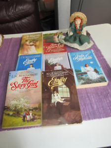 7 Anne of Green Gables Books and miniature Annie Doll