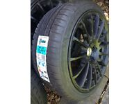 New 4 tyres and 3 new 5 stud alloy wheels £250
