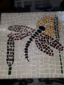 Large dragon fly mosaic table with wrought iron legs