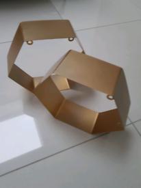 Pair of hexagonal shelves