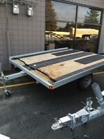 10' Tilt Snowmobile trailer with Superglides and Traction Mats