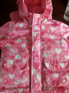 Pink winter jacket with matching snow pants