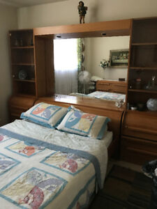 Solid teak queen bed/wall unit set