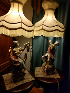 Antique Capodimonte Italian Pprcelain gold plated lamps