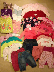 Large lot baby girl 3-6 month clothing. Great for Winter/Spring