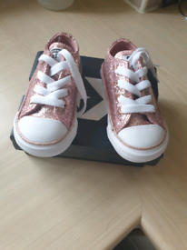 Girls pink glitter converse, infant size 5, brand new in box