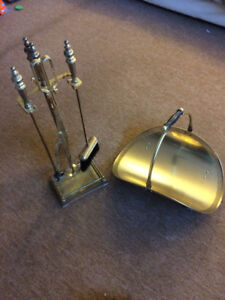 BRASS FIREPLACE TOOL SET AND LOG HOLDER