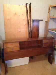 Vintage Double Bed Headboard, Foot Board, Frame