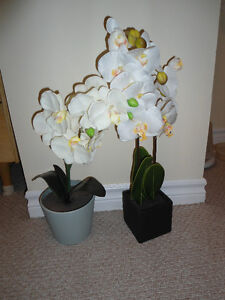 Lot of 2 Faux Orchid Plants - Great Condition