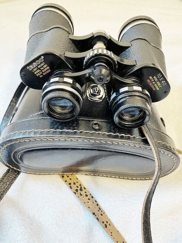 Vintage Japanese Binoculars with Leather Carrying Case Heavy Duty Tasco