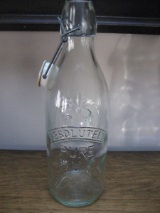 Vintage Absolutely Pure Milk Glass Bottle - MANY GREAT USES