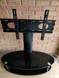 Glass TV Stand with Swivel Mount (Black)