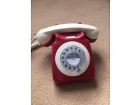 Vintage red and beige telephone ready to use