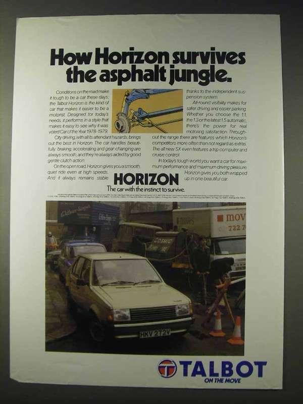 1980 Talbot Horizon Car Ad - Survives Asphalt Jungle