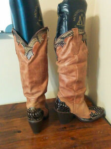"""Awesome """"Cowboy"""" Boots with Snake Skin Accents"""