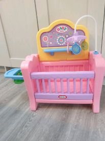 Little tikes baby doll cot with highchair seat and changing table top