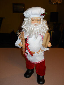 Kitchen Santa holding bread porcelain head and hands