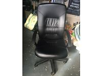 Black Leather Office Chair Excellent Condition