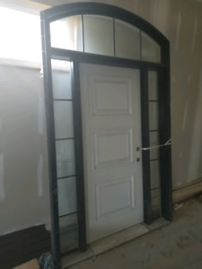 Brand New Front Door w/ Side Windows and Arched Transom