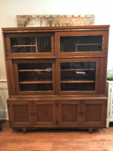 VINTAGE ASIAN CARVED CABINET FOR CHINA, BOOKS, CLOTHING